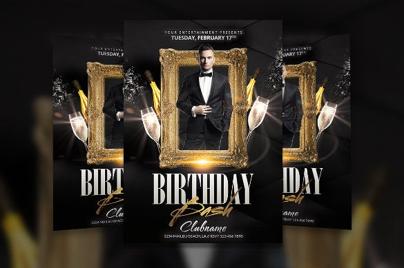 vip gold birthday flyer template