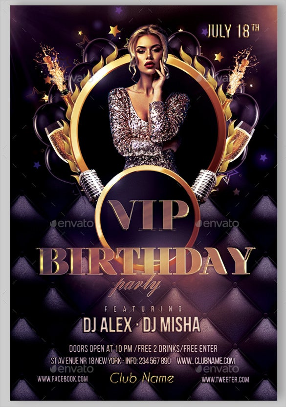 glamour birthday flyer template