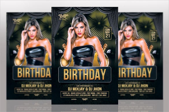 elegant birthday flyer template