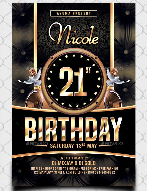 disco birthday flyer template