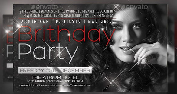 fashion birthday flyer template