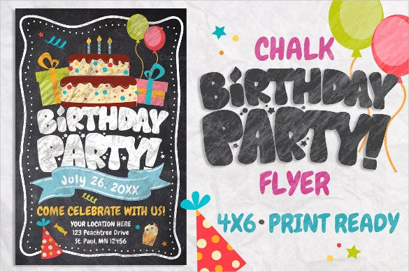 cartoon birthday flyer template
