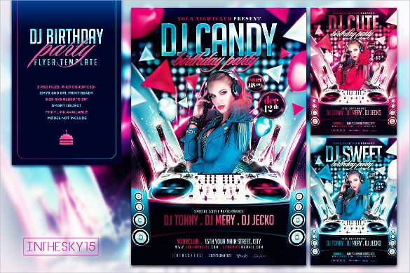dj birthday flyer template