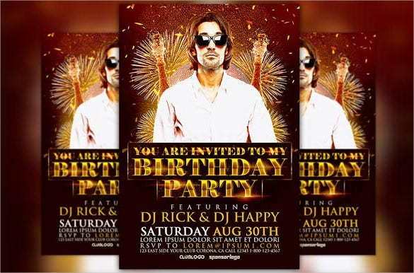 music birthday flyer template