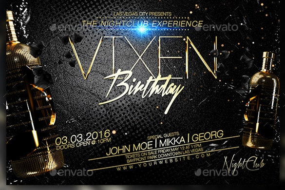 shiny birthday flyer template