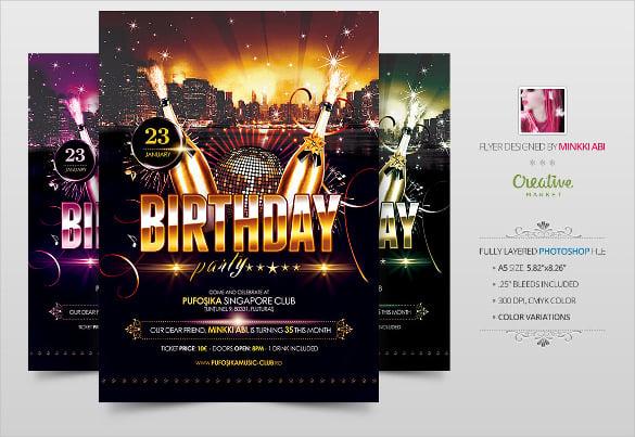 classy birthday flyer template