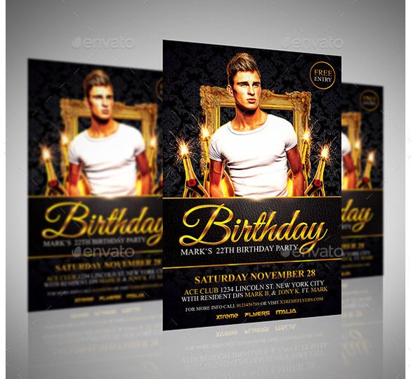 rich birthday flyer template