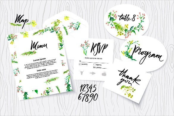 wedding menu design format in watercolour template
