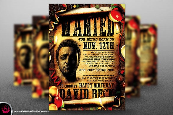 wanted birthday flyer template