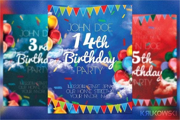 ballons birthday flyer template