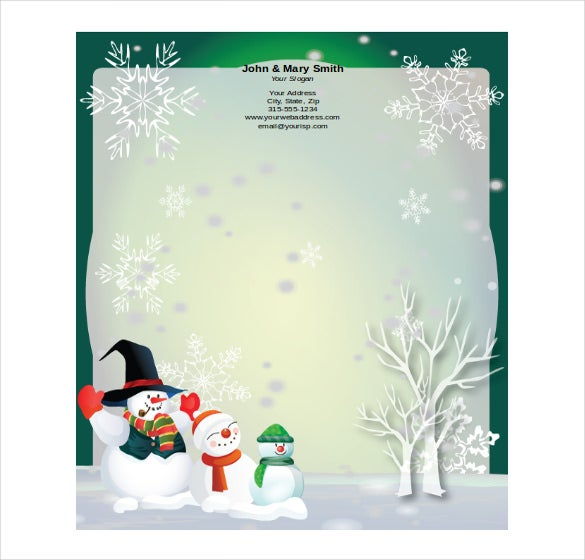 free download sample format holiday stationery template