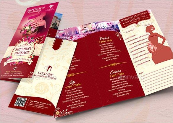 example trifold wedding set menu package template