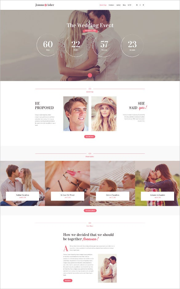 wedding day event wordpress theme