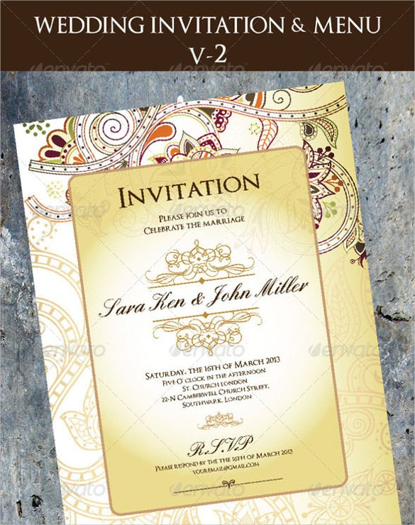 wedding invitation menu cards template sample download