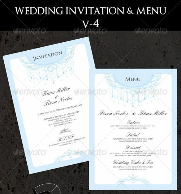 Wedding Invitation Menu Card Ai Ilrator Format