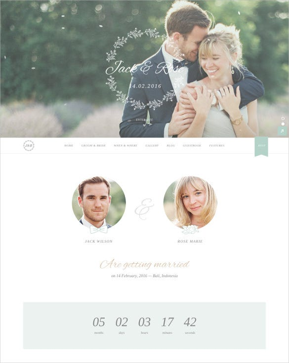 beautiful couple wordpress wedding theme
