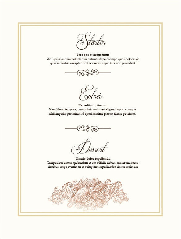 Captivating Wedding Menu Design Format Template Pertaining To Free Menu Templates Printable