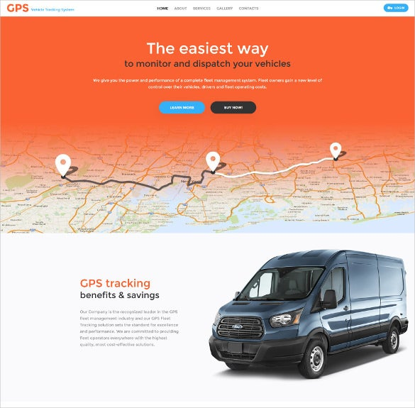 gps vehicle tracking system html5 website template