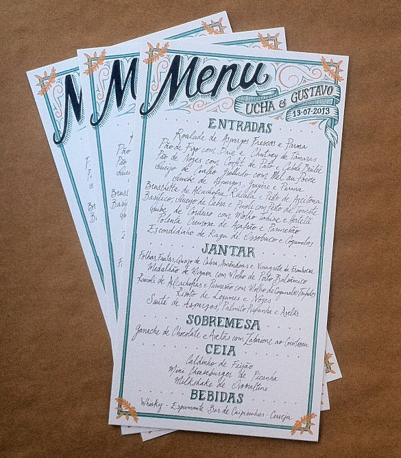 menu for a wedding example template