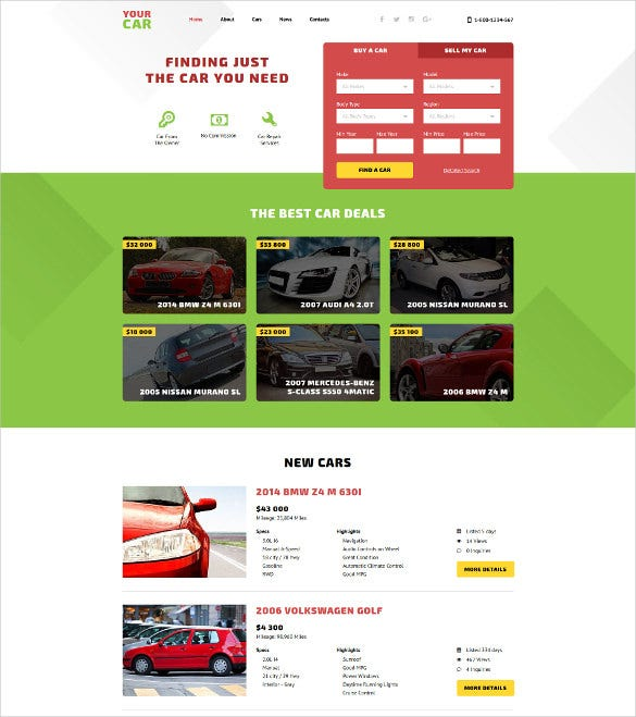 your car html5 website template
