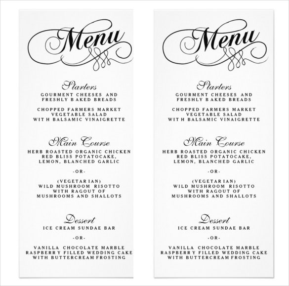 elegant black and white wedding menu template sample download