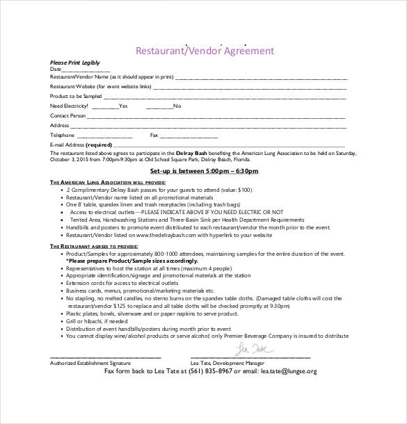 sample vendor agreement template