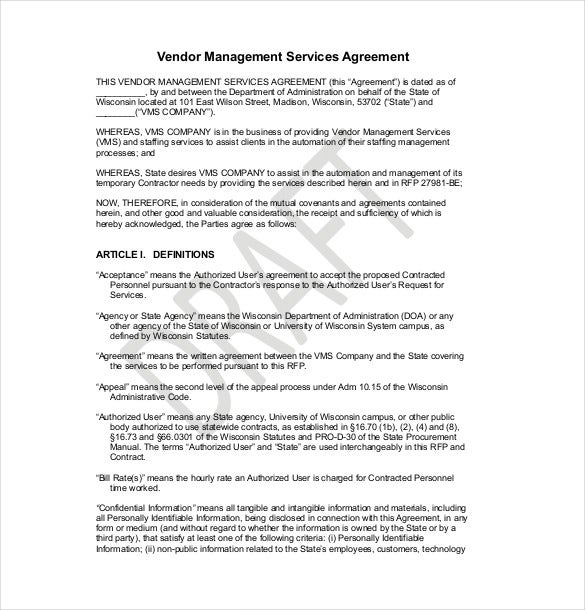 example vendor agreement template