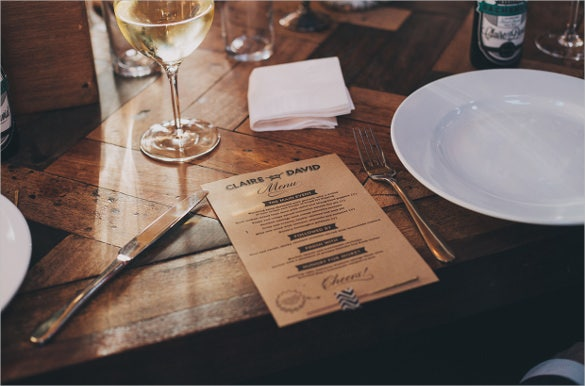 claire david wedding menu template sample download