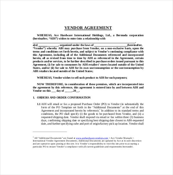 Vendor Agreement Templates  Free Sample Example Format