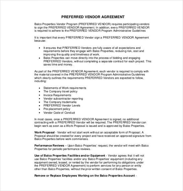 free vendor agreement template