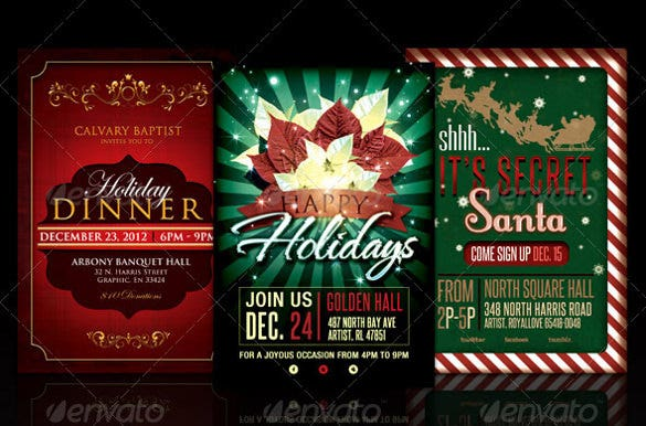 bundle flyer template of holiday