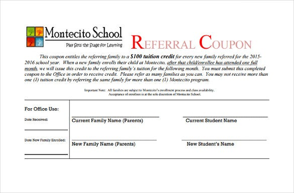 refferal coupon template schools