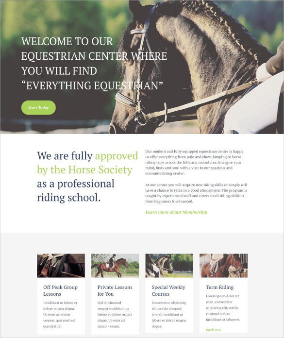 equestrian centre horse riding school wordpress html5 theme