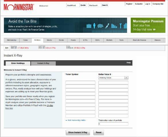 morningstar portfolio instant x ray tool
