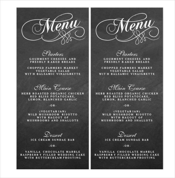 elegant chalkboard format wedding menu template