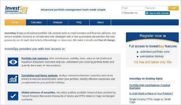investspy advanced portfolio management tools