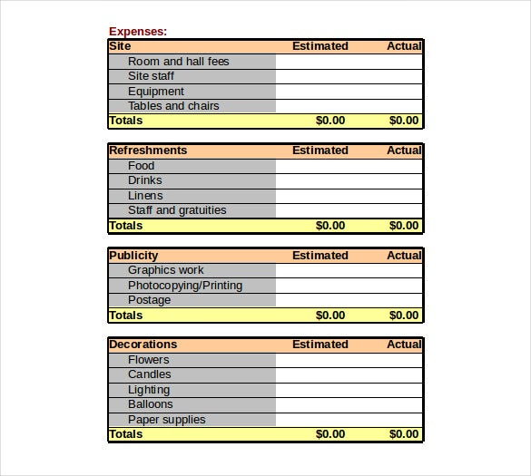 event budget fundraising order worksheet