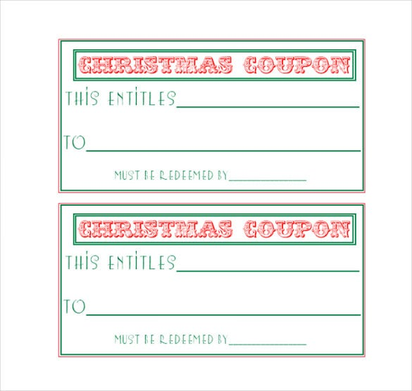 easy to print homemade christmas coupon template