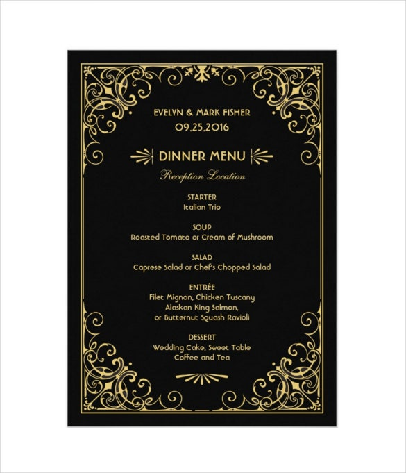 wedding dinner menu card art deco style format download