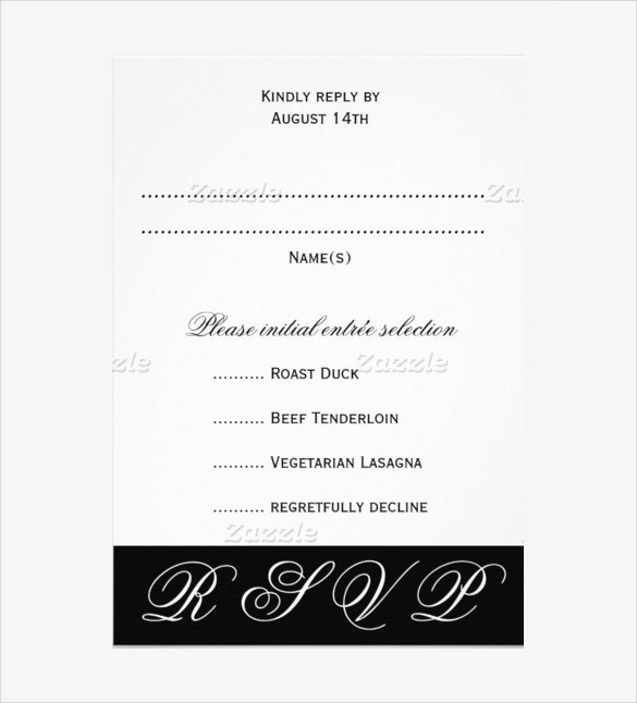 example black and white wedding rsvp menu card template