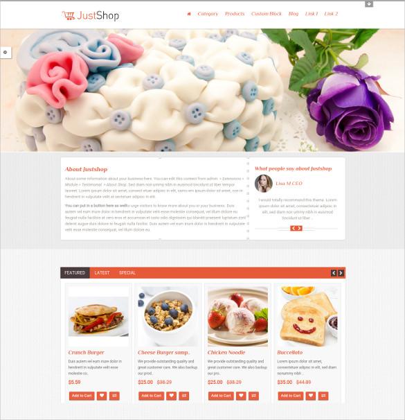 justshop cake bakery opencart html5 theme