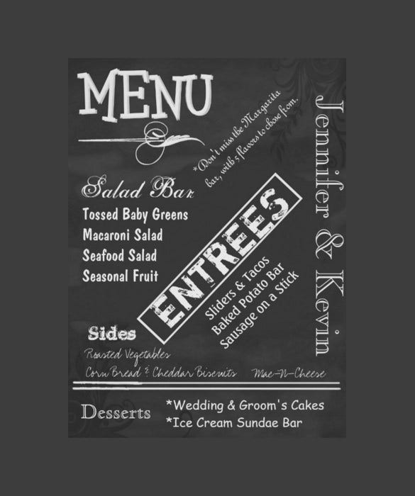 sample vintage chalkboard look wedding menu poster template