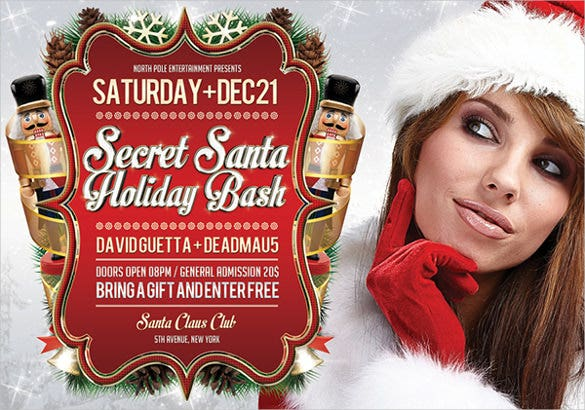 unique secret santa holiday flyer template