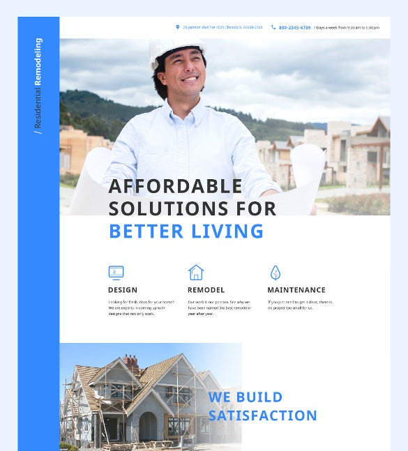 home remodeling landing page template