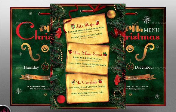 christmas holiday menu template