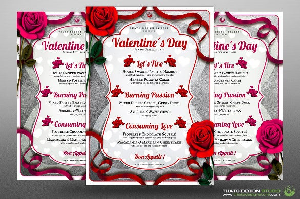 valentins day holiday menu template