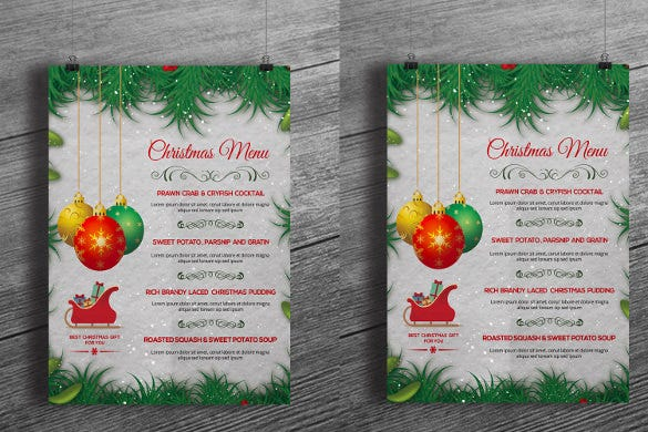 cristmas party holiday menu template