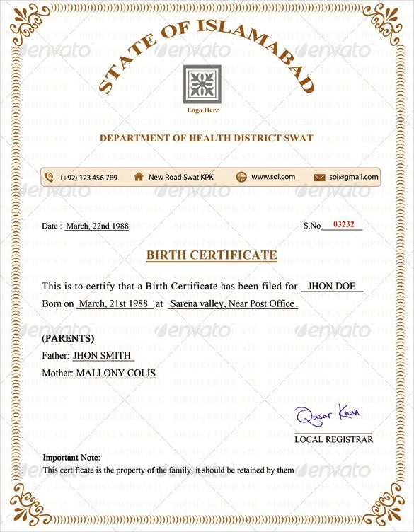 Birth Certificate Template 27 Free Word PDF PSD Format – Birth Certificate Sample