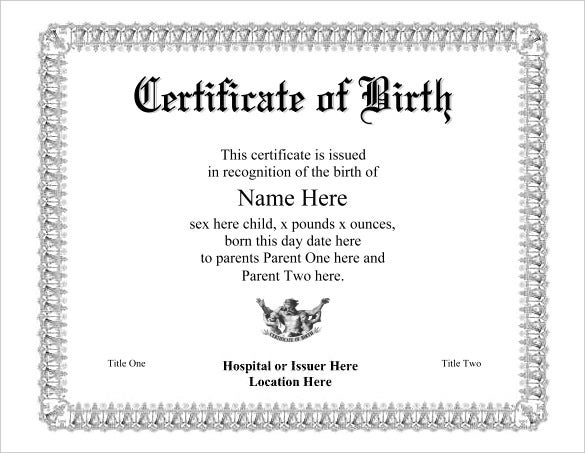 Birth Certificate Template 31 Free Word PDF PSD Format – Birth Certificate Template Word