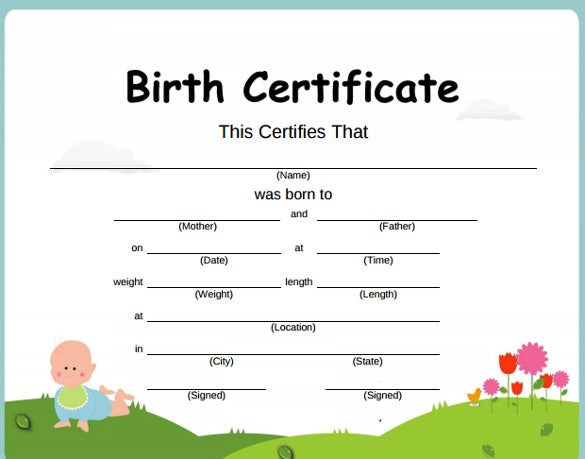 blank birth certificate to fill out